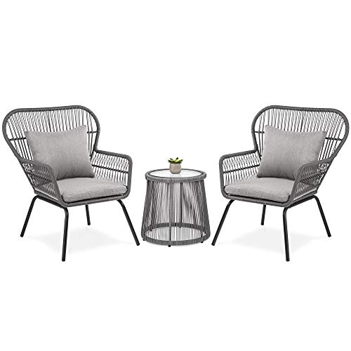 (Best Choice Products 3-Piece Outdoor All-Weather Wicker Conversation Bistro Furniture Set for Patio, Garden, Backyard w/ 2 Chairs, Glass Top Side Table, Weather-Resistant Seat & Back Cushions - Gray)