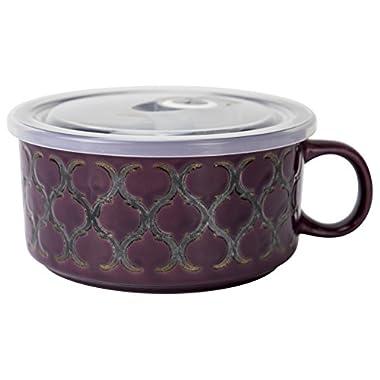 Boston Warehouse 22-Ounce Souper Bowl Vintage Burgundy Stoneware Mug with Lid