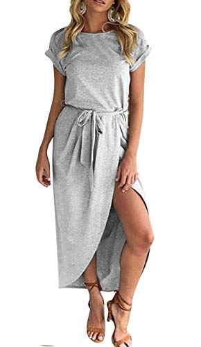 ECHOINE Women Casual Short Sleeve Work Dress High Slit Petite Size XS (Petite Maxi Dresses For Women Xs)