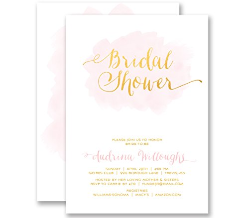 Bridal Shower Invitations Blush Pink & Gold Modern Watercolor Personalized Boutique Invites with Envelopes- Audrina style