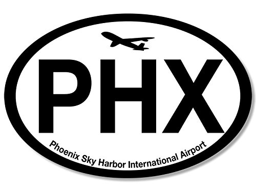 Oval PHX Phoenix Airport Code Sticker (jet fly air hub pilot - Phoenix Airport Az