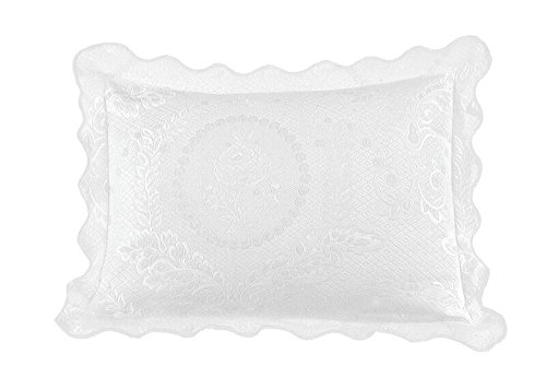(Europa Fine Linens English Rose Matelasse Sham, Standard, White)