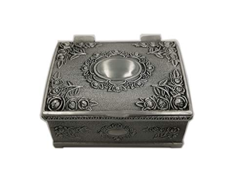 - Vmonv Vintage Tiny Trinket Collectible case Mini Treasure Chest Jewelry Box with Floral Engraved