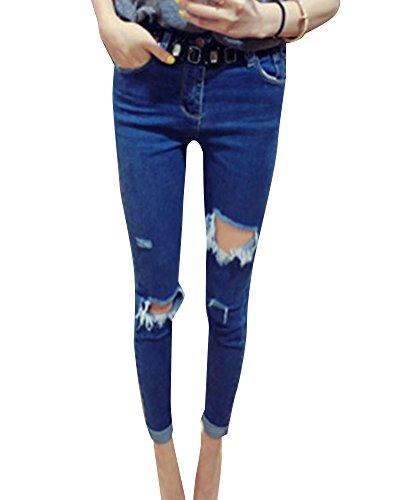 Pantalons Femme Denim Printemps Jeans Slim Taille Haute Leggings Collant Crayon Dchirs Bleu 4
