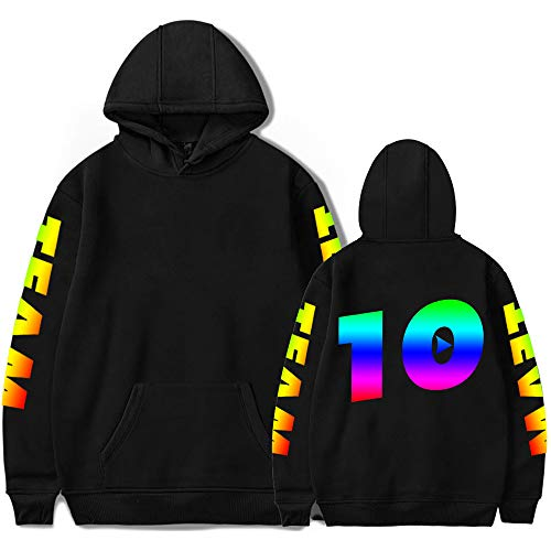 Y-OITY Youth Team 10 Print Hoodie Hooded Sweatshirts for Boys and Girls Black XL ()