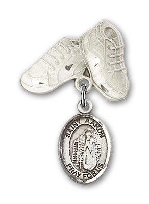 Sterling Silver Baby Badge with St. Aaron Charm and Baby Boots Pin