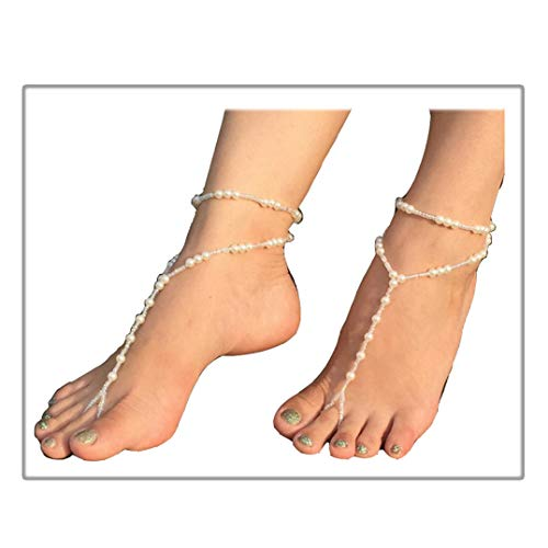 Gudukt Beach Elastic Pearl Anklet Layer Beaded Handmade Wedding Barefoot Sandals Ankle Chain Toe Ring