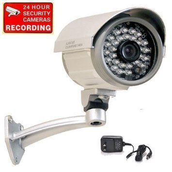 VideoSecu Bullet Security Camera Outdoor Day Night Vision Infrared Built-in 1/3'' Sony CCD 3.6mm Wide View Lens 28 IR LEDs for Home DVR CCTV Surveillance with Free Power Supply IRX36S A1B