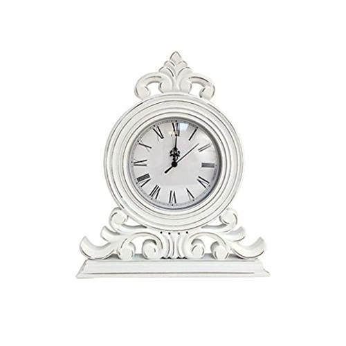 White Distressed Shabby Chic Mantel Clock by Lesser & Pavey