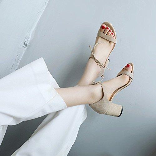 pacchetto con Donna la 7cm anteriore Da tacco ad Alla fascetta Peep AJUNR bold Sandali beige alta Toe Moda 36 con scarpe calzature EqOW7w