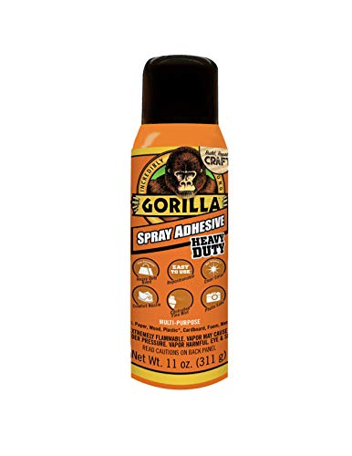 Gorilla Heavy Duty Spray Adhesive, Multipurpose and Repositionable, 11 ounce, Clear