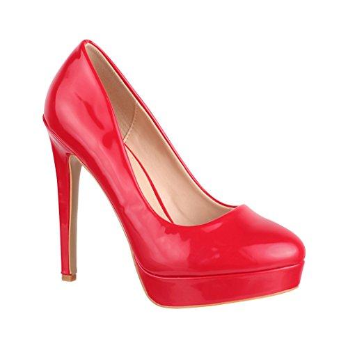 Monaco a con scarpe da donna plateau pump Elara alto Rot con tacco stiletto 7qxpaz