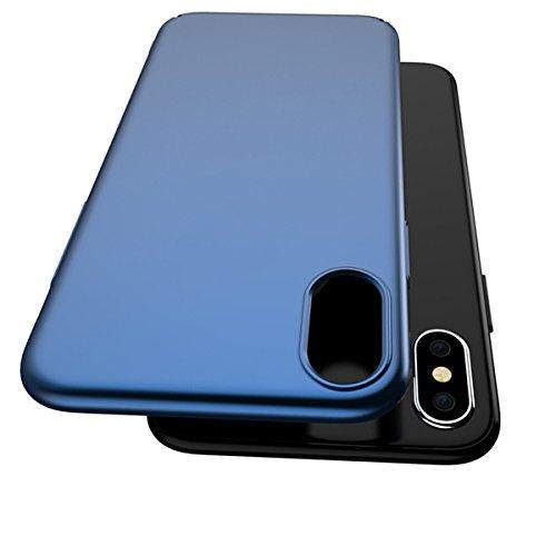 Coque iPhone X, Coque iPhone 10 Ultra Slim Légère Case Adamark Anti-Scratch Thin Protection Housse Bumper Récurer PC Rigide Étui Back Shell Pour iPhone X / 10 (2017) (Or) Bleu