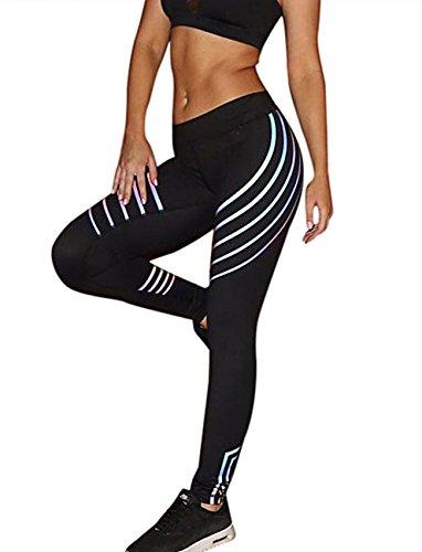 SEASUM Women Full Length Leggings Sports Gym Yoga Workout High Waist Glow Printed Running Pants Fitness Tights