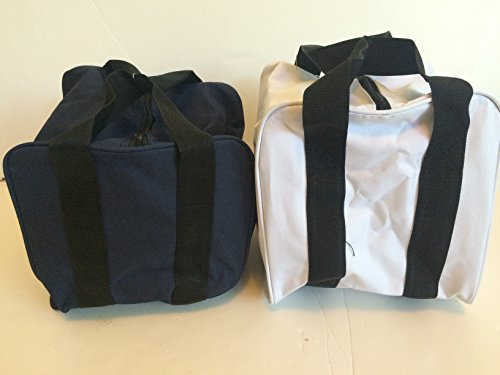 Unique Package - Pack of 2 Extra Heavy Duty Nylon Bocce Bags - Blue with Black Handles and White with Black Handles by BuyBocceBalls