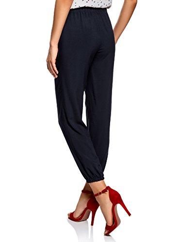 oodji Ultra Mujer Pantalones Ligeros de Viscosa con Cintura Elástica Azul (7900N)