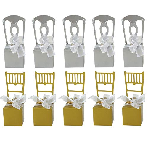 BaoBae 100Pcs Creative Miniature Chair Gift Candy Box with Heart Charm and Ribbon for Wedding Favor Party Supplies (50Pcs Gold +50Pcs ()
