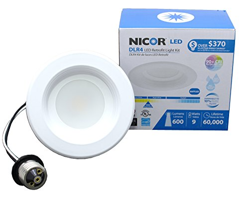NICOR Lighting 4-Inch Dimmable 3000K LED Remodel Downlight Retrofit Kit for Recessed Housings, White Baffle Trim (DLR4-3006-3K-WH-BF)