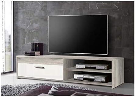 Katso Meuble Tv 120 Cm Chene Blanc Brillant Amazon Fr Cuisine Maison