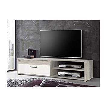 Katso Meuble Tv 120 Cm Chene Blanc Brillant Amazon Fr Cuisine Maison