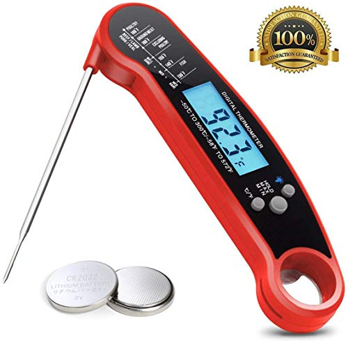 Meat Thermometer, Instant Read Thermometer with Calibration and Backlit, Waterproof Super Fast Digital Thermometer with Long Probe, Food Thermometer with Bottle Opener for Kitchen, Cooking, BBQ, (Red)