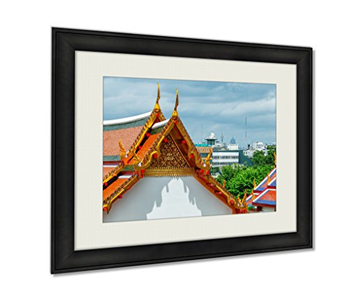 Ashley Framed Prints, Temple Architecture Bangkok Thailand Wall Art Decor Giclee Photo Print In Black Wood Frame, Soft White Matte, Ready to hang, 24x30 Art by Ashley Framed Prints