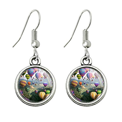 GRAPHICS & MORE Hot Air Balloons Sky Roads Novelty Dangling Drop Charm Earrings