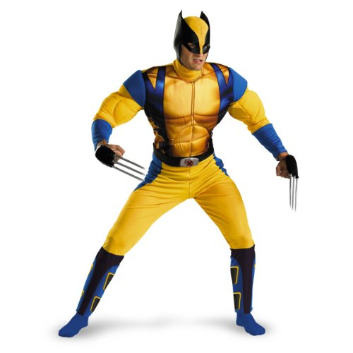 Disguise Marvel The Wolverine Classic Muscle Mens Adult Costume, Yellow/Blue, Medium/38-40]()