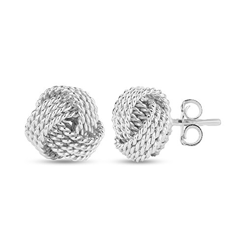 LeCalla Sterling Silver Jewelry Italian Design Diamond Cut Wire Love Knot Stud Earrings for Women Girl