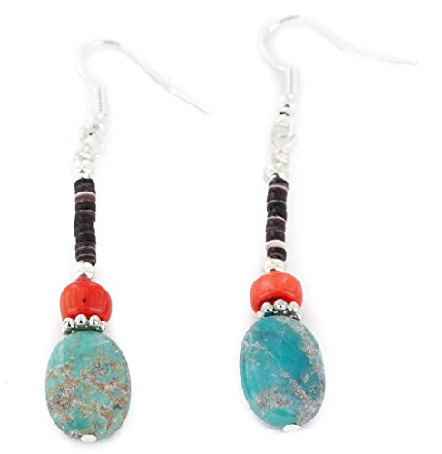 Native-Bay Authentic Made by Charlene Little Navajo Silver Hooks Dangle Natural Turquoise Coral American Earrings