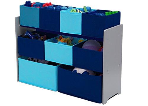 41zhp3EVCbL - Delta Children Deluxe Multi-Bin Toy Organizer with Storage Bins, Grey/Blue