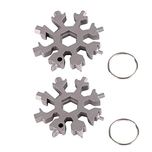 2 Pack NEW 18-In-1 Stainless Multi-Tool Snowflake Multi-Tool Outdoor Travel Camping multifunctional EDC Screwdriver Keychain Card Combination Bottle - Snowflake Keychain