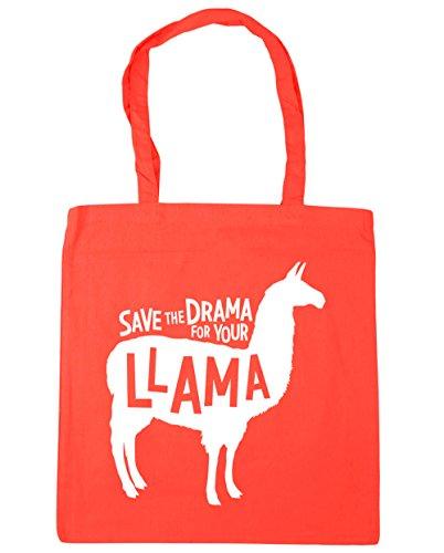 HippoWarehouse Save the Drama para su llama bolsa de la compra bolsa de playa 42cm x38cm, 10litros, negro (negro) - 21439-TOTE-Black coral