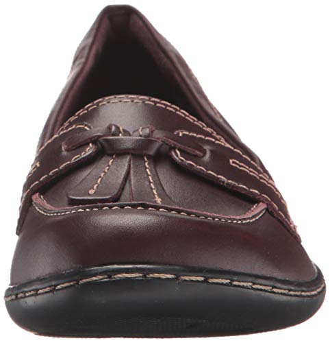 Cuero Frauen Mocasines De Clarks Para Leather Patent Borgoña Mujer burgundy Us qE1x6w