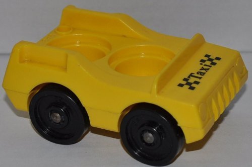 Vintage Little People Yellow Taxi Cab with Black Wheels (Peg Style) - Replacement Figure - Classic Fisher Price Collectible Figures - Loose Out Of Package & Print (OOP) - Zoo - Taxi Style