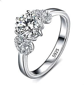 خاتم فضة نسائي مرصع بالكريستال 8