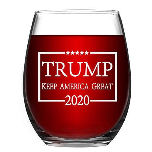 Wine Glasses - Keep America Great Wine Glass - Patriotic Funny Stemless Wine Glass for US Independence Day - Patriotic Themed Glass - American Patriot Giftsfor him her mom dad husband wife