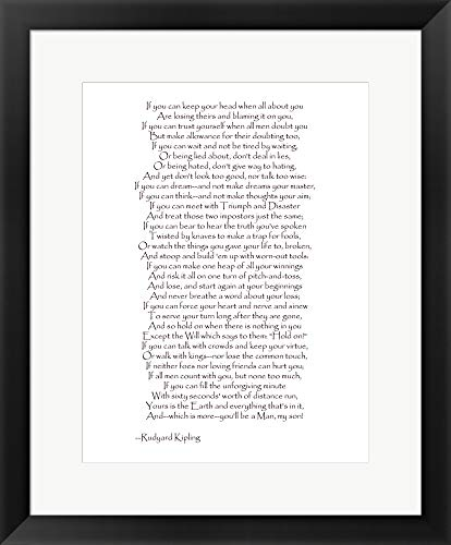 (If - Red Border by Rudyard Kipling Framed Art Print Wall Picture, Black Frame, 19 x 23 inches)