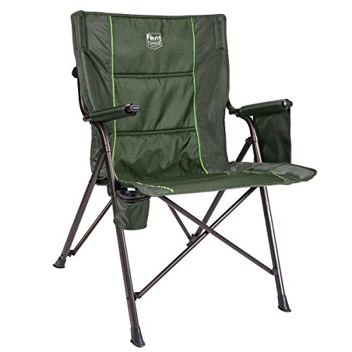 Timber Ridge Camping Folding Quad Chair Support 300lbs with Carry Bag Outdoor Lightweight, Padded Armrest, Cup Holder (Timber Ridge High Back Chair With Cup Holder)