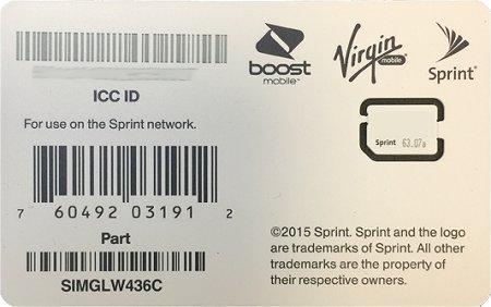 Sprint UICC ICC Nano SIM Card SIMGLW436C – iPhone 5c, 5s, 6, 6 Plus, 6S, 6S Plus, 7, 7 Plus, SE, iPad Air, iPad Air 2