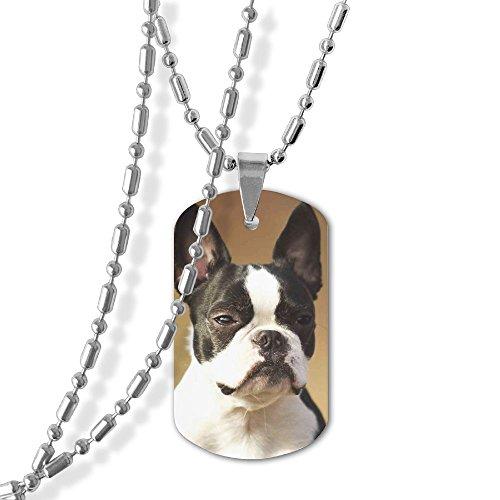 XIKEWL Men Women Necklace Military Chain Air Force Pendant Boston Terrier Zinc Alloy Dog Tag Necklace Festival Military Necklaces For Great Gift Idea