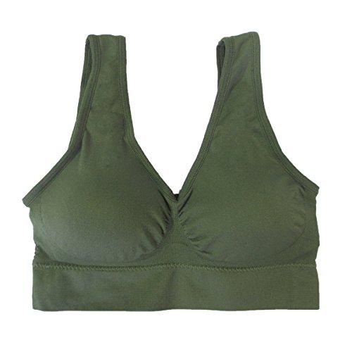 Coobie Seamless Comfort Bra, Army Green, Large ()