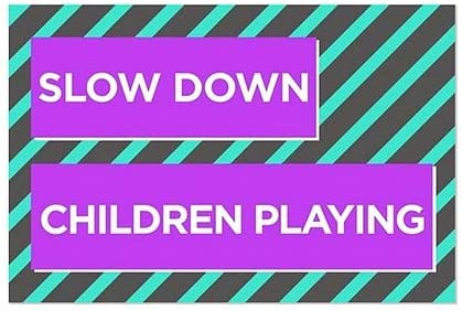 Modern Block Clear Window Cling Slow Down Children Playing 18x12 CGSignLab