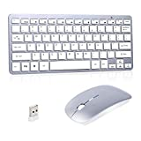 Wireless Keyboard Mouse, Ultra Slim Compact Portable Small Wireless Keyboard and Mouse Combo 2.4GHz Set for PC, Desktop, Computer, Notebook, Laptop, Windows XP/Vista/7/8/10 OS (Silvery)