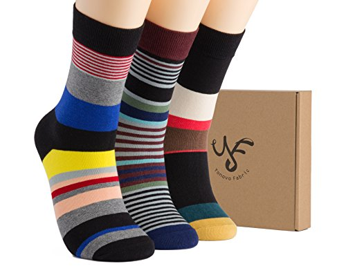 Yonovo Fabric Mens Patterned Cotton Crew Socks(3 Pack in Gift Box)Shoe Size 7-10 from Yonovo Fabric