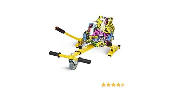 ECOXTREM Hoverkart, Asiento Kart, Amarillo diseño Hip Hop, con manillares Laterales, Barra Ajustable. Accesorio para patinetes eléctricos Hoverboard ...