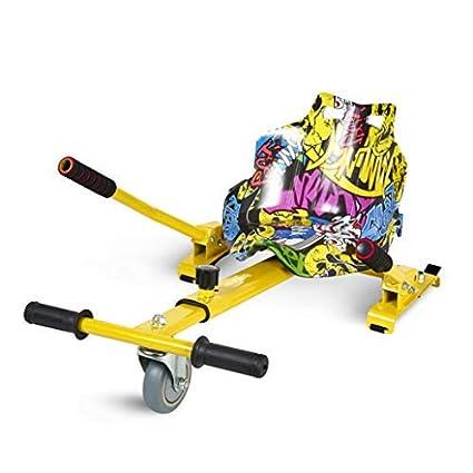 ECOXTREM Hoverkart, Asiento Kart, Multicolor Amarillo diseño Hip Hop, con manillares Laterales, Barra Ajustable. Accesorio para patinetes eléctricos ...