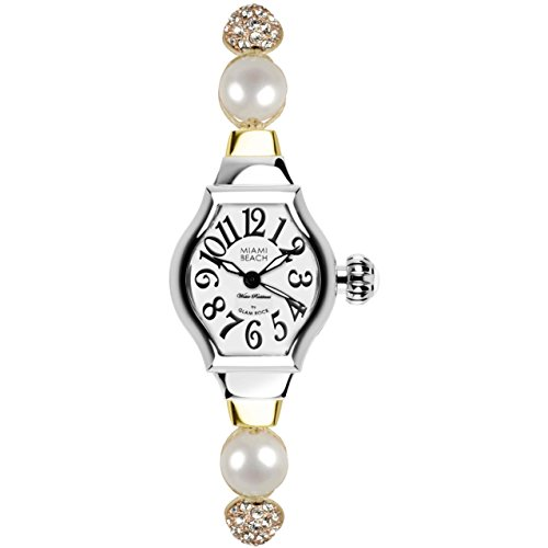 Glam Rock Women's MBD27103 Miami Beach Art Deco Silver Dial Beige Braided Cotton with Beads and Synthetic Stones Watch