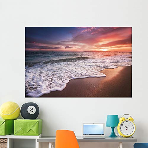 Wallmonkeys Incredibly Beautiful Sunset Beach Wall Mural Peel and Stick Vinyl Graphic (60 in W x 40 in H) WM525663
