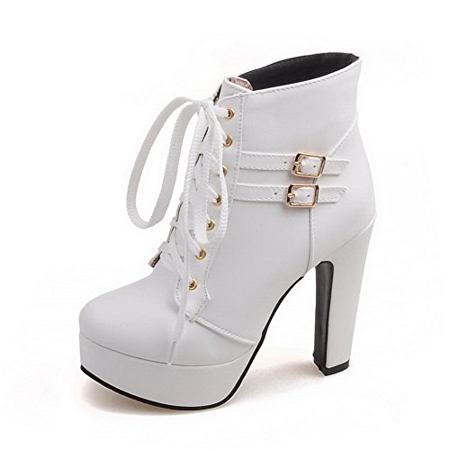 Women's Low Heels AgooLar Solid Toe Top Soft Material Boots White High Round Closed gSd0SAx